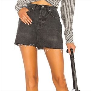 Free people rugged a line raw hem denim skirt 27